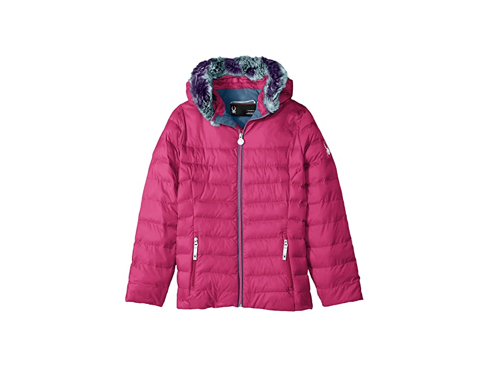 Spyder Kids Timeless Hoodie Faux Fur Down Jacket (Big Kids) (Raspberry) Girl