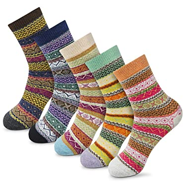 Calcetines de invierno de las mujeres calcetines calientes gruesos suaves lana calcetines de regalo de Navidad para las mujeres calcetines de tripulación acogedores-5 paquetes