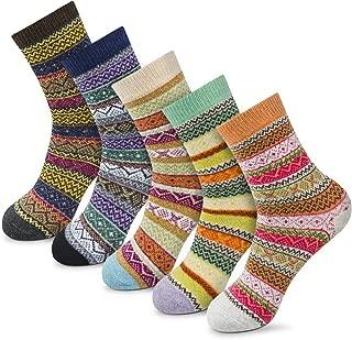 Women Winter Socks Novelty Gift Socks Vintage Soft Cute Patterened Crew Socks 5packs