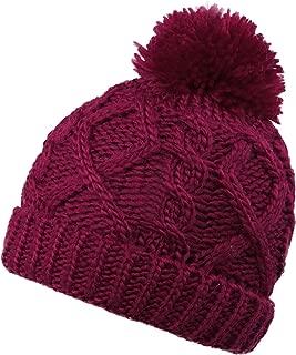 Kids Winter Cable Knit Pom Pom Beanie Winter Hat Cap for Boys/Girls