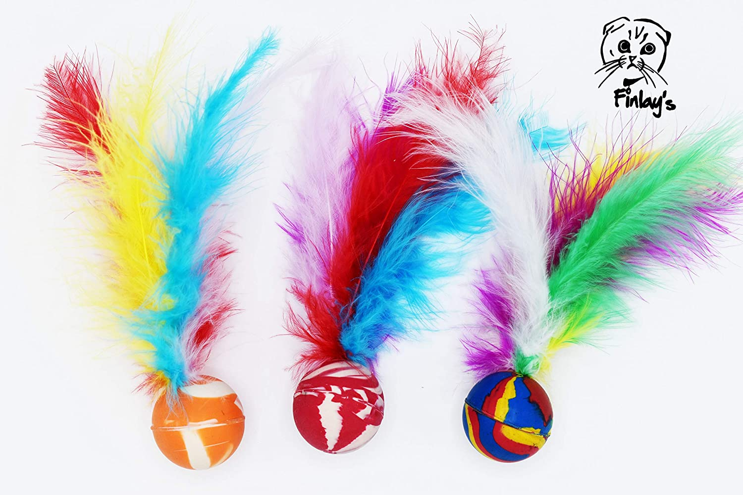FINLAY'S Large Max 84% OFF Colorful Bouncy Regular store Feather Kit Cat Balls Interactive