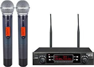 innopow 80-Channel Dual UHF Wireless Microphone System,Metal Cordless Mic Set, Long..