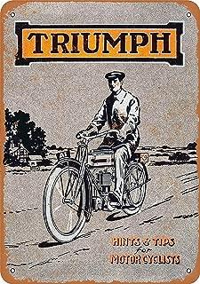 Bensun Nancya 8×12 Triumph Tin Wall Signs Vintage Iron Painting Retro Art Warning Metal Plaque Decor for Road Home Store Cafe Bar