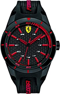 Ferrari Mens Quartz Watch, Analog Display and Silicone Strap 830245