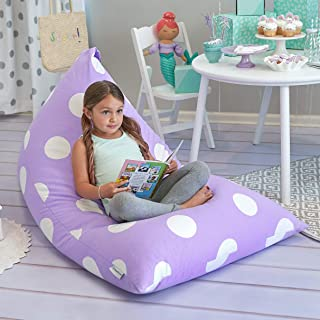 (Purple Polka Dot) - Butterfly Craze Stuffed Animal Storage Bean Bag Chair - Stuff 'n Sit Toy Bag Floor Lounger for Kids, ...