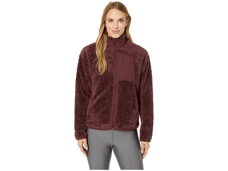 Nike Long Sleeve Full-Zip Training Top (Burgundy Crush/Black) Women