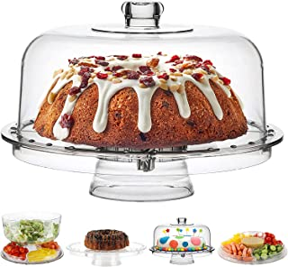 Glass Acrylic Cake Stand with Dome Cover (6 in 1) Multi-Functional Serving Platter and Cake Plate - Use as Cake Holder, Sa...