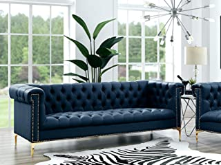 Oxford Navy Leather Chesterfield Sofa - Gold Metal Y-Legs   Button Tufted   Nailhead Trim   Modern   Contemporary   Inspired Home