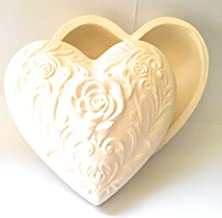 Heart Shaped Jewelry Box with Roses and Vines Ceramic Bisque Ready to Paint