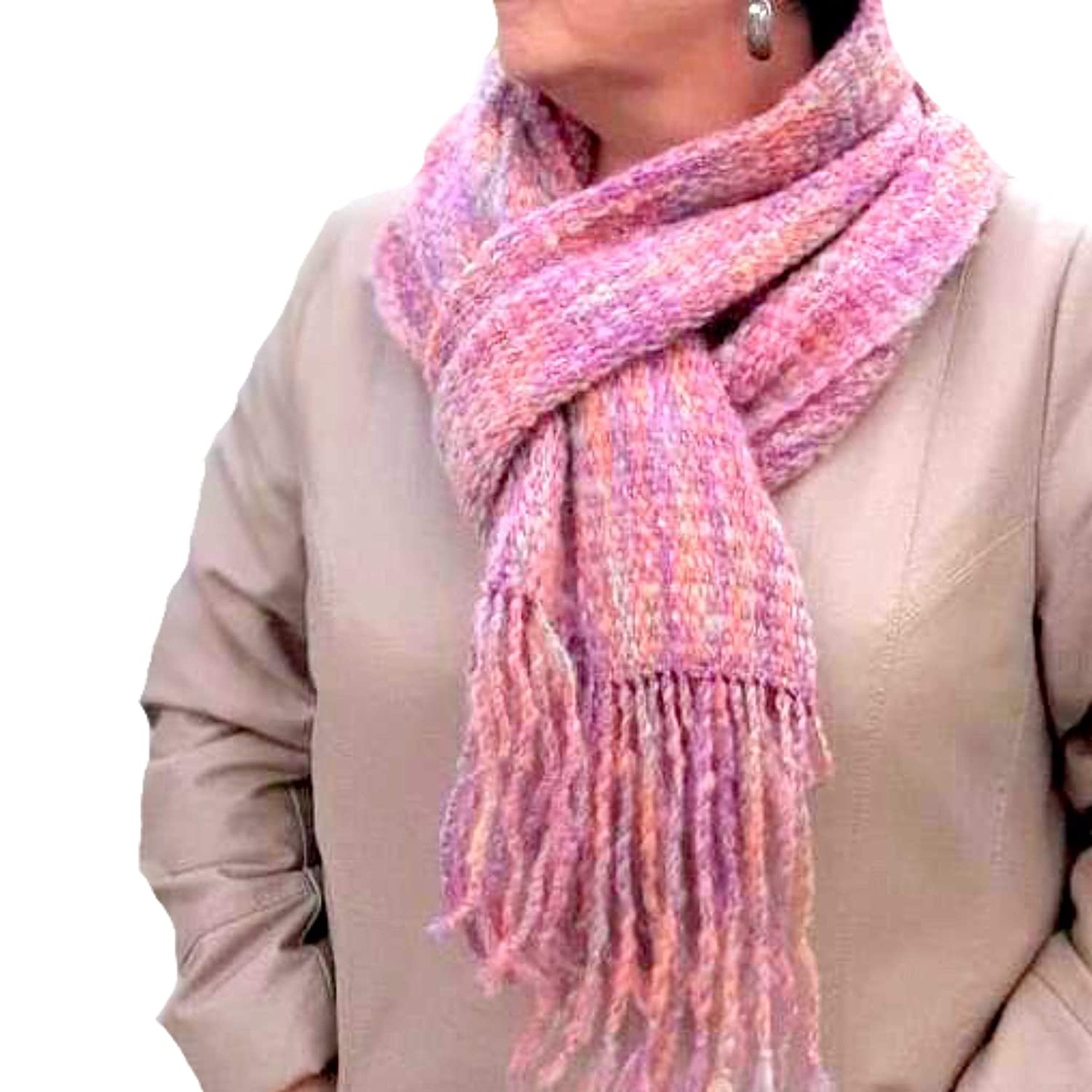Warm Pink Handmade Scarf for - Free shipping Year-end gift on posting reviews Winter Women's Made Unique
