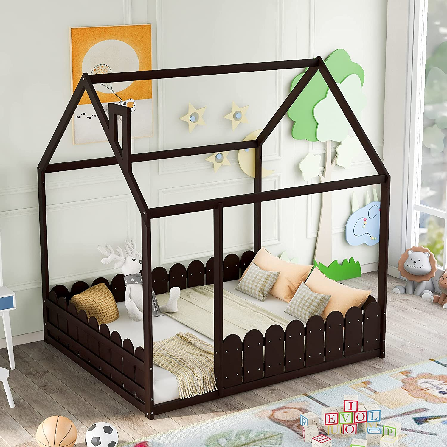 Children's Bed Wooden Soldering House Frame Fence price Full-Size with