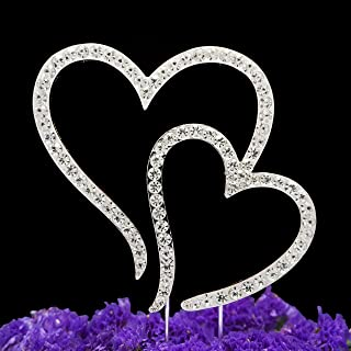 LOVENJOY with Gift Box Two Hearts One Love Wedding Engagement Anniversary Rhinestone Cake Topper Decoration Silver (3.5-inch)