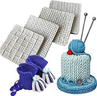 Wocuz Set of 4 Fondant Impression Mat Knitting Sweater & Crochet Texture Embossed Design Silicone Cake Cupcake Decorating Supplies molds