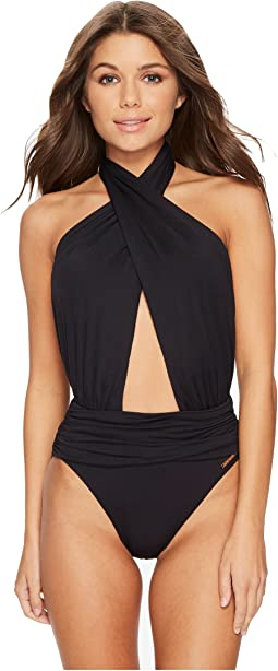Vince Camuto - Riviera Solids Wrap Halter Neck One-Piece Swimsuit