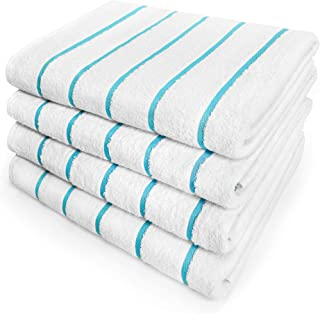 Kaufman - Terry Horizontal Stripes Beach Pool and Spa Towels - Set of 4 Pcs - 30in X 60in - 400 GSM - Luxury Hotel Towels 4-Pack (Turquoise)