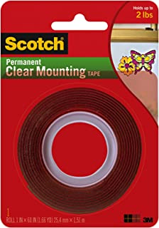 Scotch Permanent Clear Mounting Tape, holds up to 2 pounds, 1