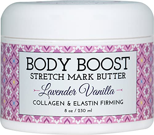 Body Boost Lavender Vanilla Stretch Mark Butter 8 oz.- Treat Stretch Marks and Scars- Pregnancy and Nursing Safe- wit...