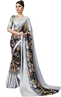 Gaurangi Creation Women's Printed Weightless Georgette Satin Border Indian Ethnic Grey Saree With Unstitched Blouse Piece
