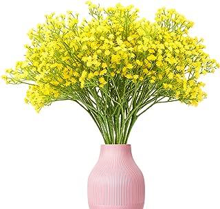 Yunuo 12PCS Artificial Baby Breath/Gypsophila Silk Flower Wedding Home Party Decor Gift (Yellow)