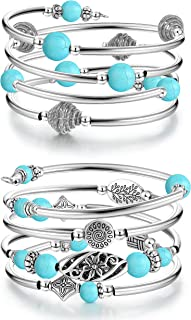sailimue 2 Sets Layered Wrap Bangle Turquoise Bracelet for Women Bohemian Thick Silver Metal Beads Agate Stone Multilayer ...