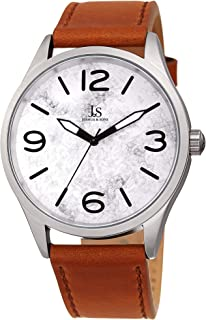 Joshua & Sons JX144 Designer Men's Watch - Genuine Leather Strap, Marble Stone Design Dial with Matte Finish Bezel Case - Comfortable and Casual