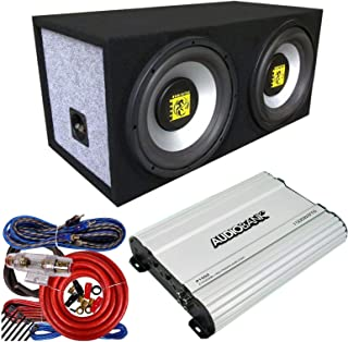 "$179 » Audiobank P1502 1500 Watt 2 Channels Car Audio Amplifier + 1x Audiotek AT-208WS Dual Seal Vented Box with 8"" 800 Watts Sub..."