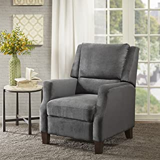 Madison Park Irina Recliner Chair - Solid Wood, Plywood, Rolled Back Button Tufted Accent Armchair Modern Classic Style Family Room Sofa Furniture, Grey