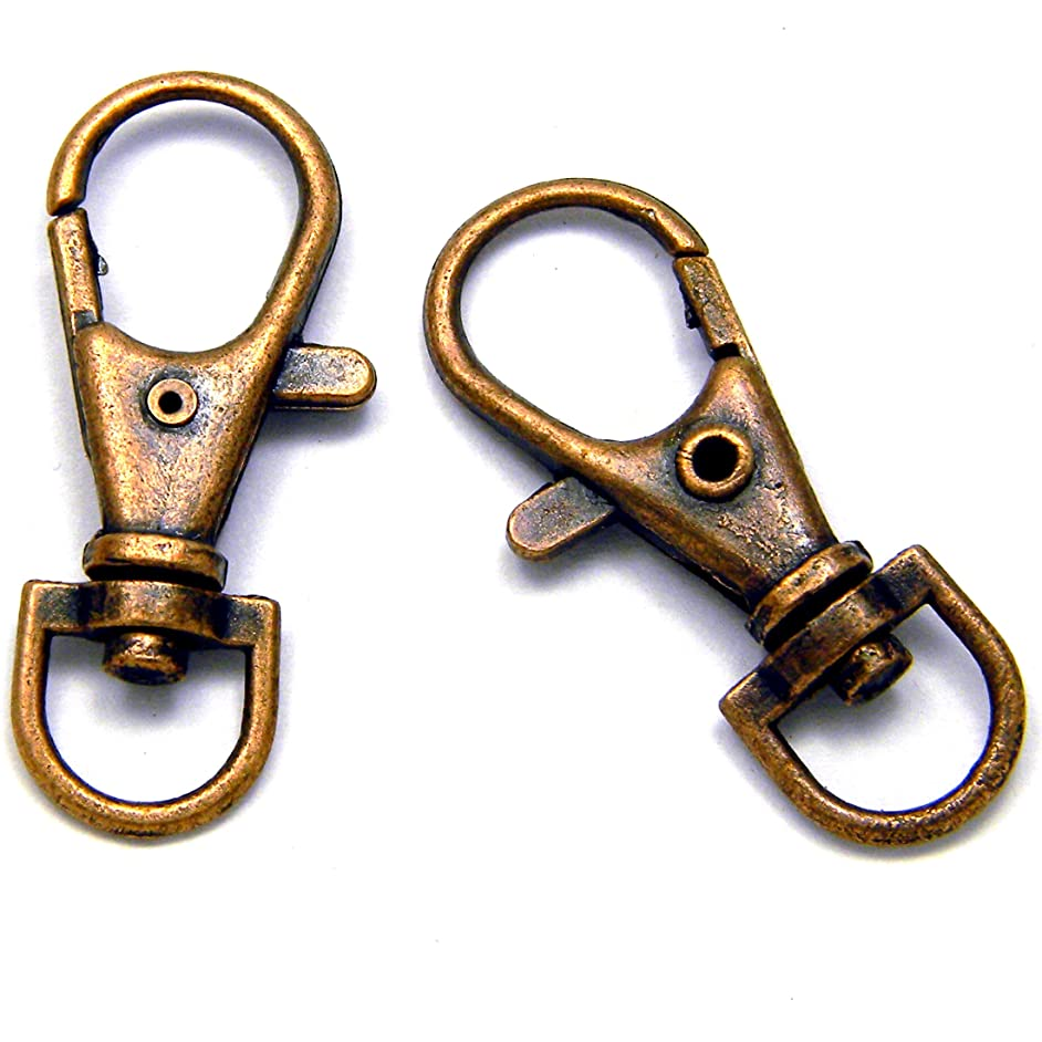 10 Big 1 1/2 Inch 360 Swivel Lobster Clasp Clip Hook Findings for Purses Lanyards + (Antique Copper Plated)