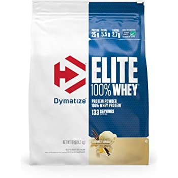 Dymatize Elite 100% Whey Protein Powder, 25g Protein, 5.5g BCAAs & 2.7g L-Leucine, Quick Absorbing & Fast Digesting for Optimal Muscle Recovery, Gourmet Vanilla, 10 Pound