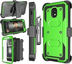 Njjex Case Compatible with Samsung Galaxy J3 2018/J3 Eclipse 2/J3 Orbit/J3 Achieve/Express Prime 3/Amp Prime 3/J3 Prime 2/J3 Emerge/J3 V 3rd Gen/J3 Aura/J3 Star, Holster Swivel Belt Clip Cover - Green