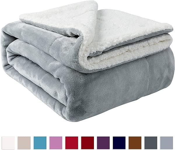 Nanpiper Sherpa Blanket Twin Thick Warm Blanket For Winter Bed Super Soft Fuzzy Flannel Fleece Wool Like Reversible Velvet Plush Blanket Light Grey Twin Size 60 X80