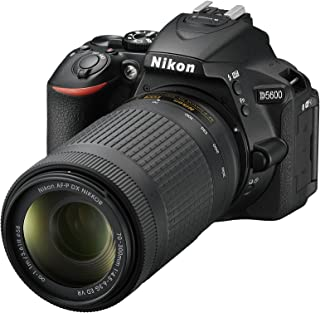 Nikon D5600- Cámara réflex de 24.2 MP (pantalla táctil de 3 Full HD) negro - kit con objetivo AF-P DX 18 - 55 mm VR y AF-P 70 - 300 mm DX VR versión europea