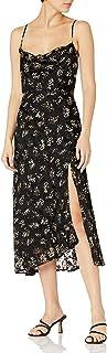 ASTR the label Women's Gaia Sleeveless Midi Slip Dress, Black-Ivory Multi