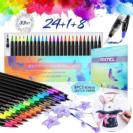 20 Water Based Ink Art Set for Bullet Bik Bok Creations Watercolour Brush Pens