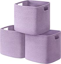UBBCARE Cube Storage Bins Organizer Set of 3 Collapsible Cotton Rope Storage Baskets Decorative Woven Basket with Handles ...