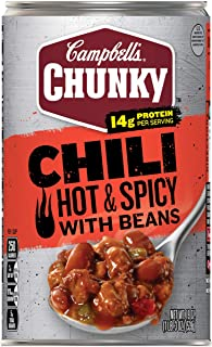 Campbell's Chunky Soup, Hot & Spicy Beef & Bean Firehouse Chili, 19 Ounce Can