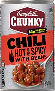 Campbell's Chunky Chili, Hot & Spicy Beef & Bean Firehouse, 19 Oz (Pack Of 12)