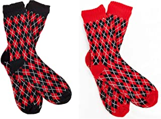 FGR Christmas (2 Pack) Womens Thick Knit Sherpa Fleece Lined Thermal Fuzzy Slipper Socks With Grippers Black Red Arguile