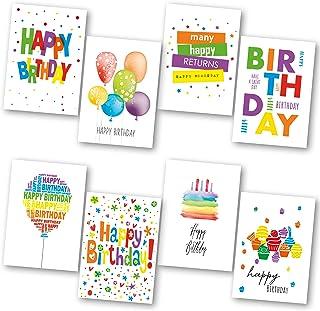 Birthday Cards Multipack of 32. Each Birthday Card box includes 8 Colourful Happy Birthday Card Designs. Blank Inside. Bul...