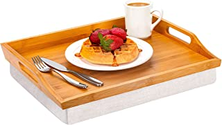 Rossie Home Lap Tray with Detachable Pillow, Serving Tray - Natural Bamboo - Style No. 76107