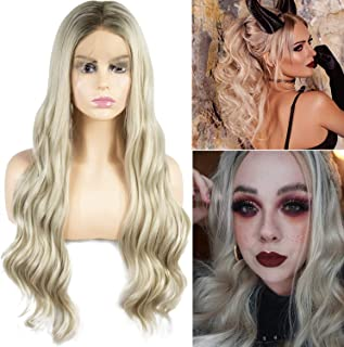 GEX Long Wavy Lace Front Wigs Ombre Blonde Synthetic Wig Glueless for Women Heat Resistant Fiber Hair