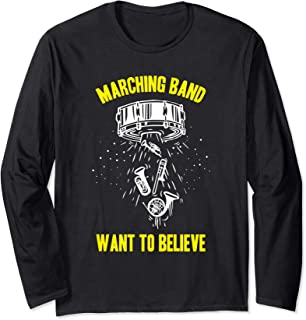 Vintage Alien UFO Marching Band Want To Believe Long Sleeve T-Shirt