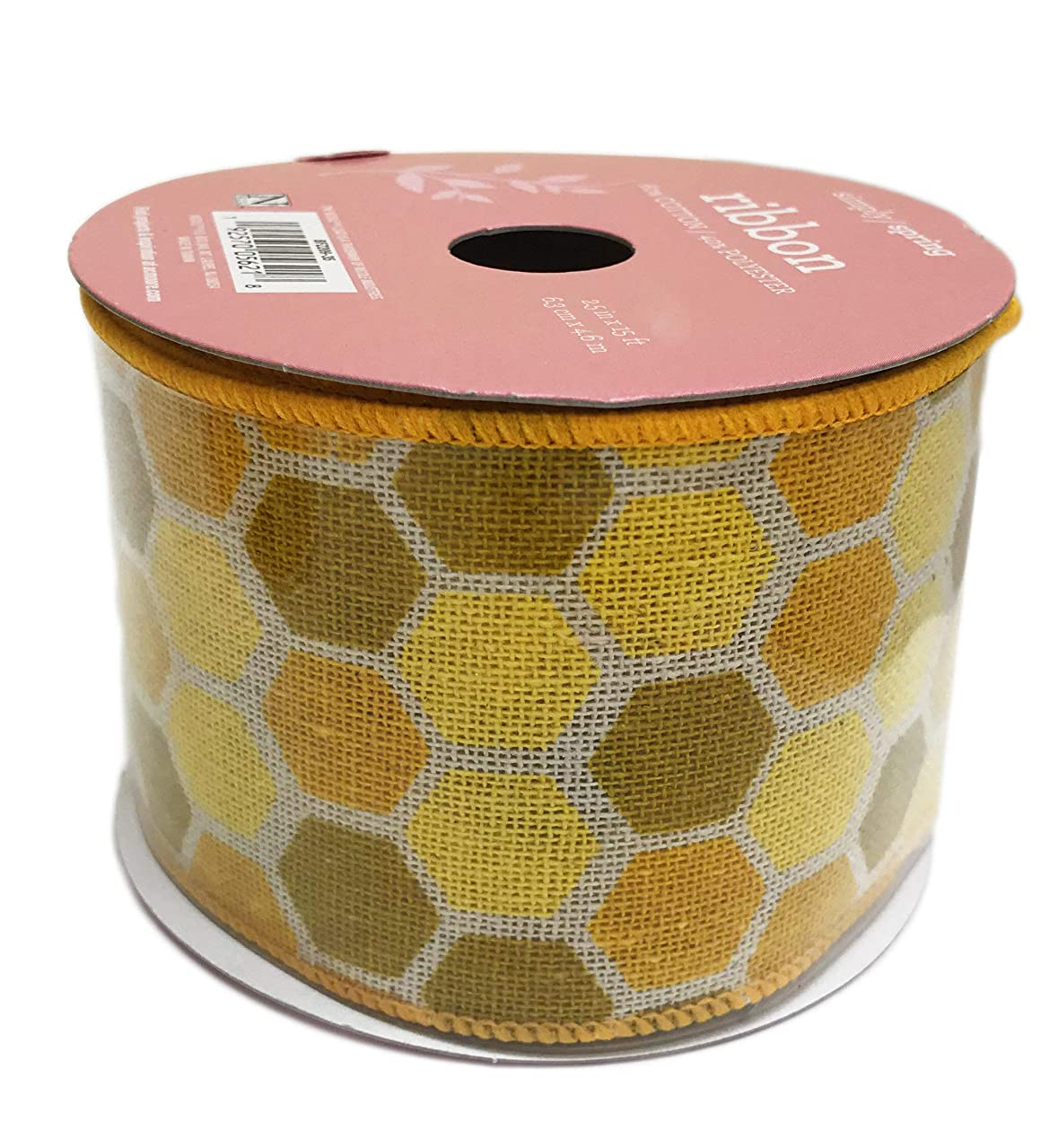 Yellow Honey Comb Print Wired Edge Wide Decorative Spring Summer Crafting Gift Ribbon 2.5