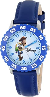 Disney Kids' W000062 Time Teacher Toy Story 3 Woody Stainless Steel Watch With Blue Leather Band