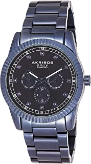Akribos Multifunction Stainless Steel Men's Watch - Mesh Wristwatch with Date, Day and 24 Hour Chronograph Sub Dials - AK958