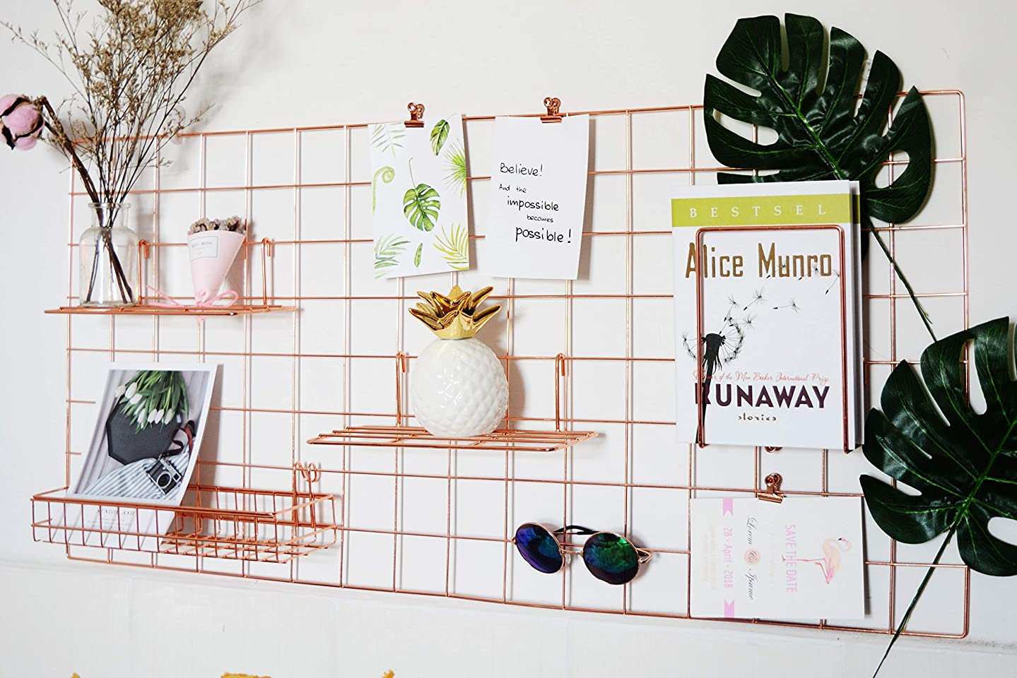 Wire Grid Panel,Rose Gold Grid Photo Wall,Wall Mounted Metal Panel for Photo Display,Decoractive Shelf Rack for Home Decor Storage,Memo Display and Hanging Organizer,Size:17.7