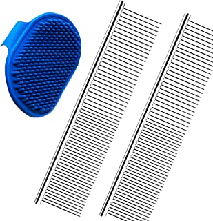 2 Pack Pet Hair Grooming Comb and 1 Pack Dog Bath Brush - Pet Stripping Dematting Combs with Rounded Teeth and Non-Slip Gr...