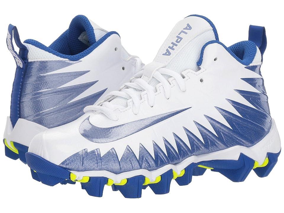 Nike Kids Alpha Menace Shark Football (Toddler/Little Kid/Big Kid) (White/Game Royal/Game Royal) Kids Shoes