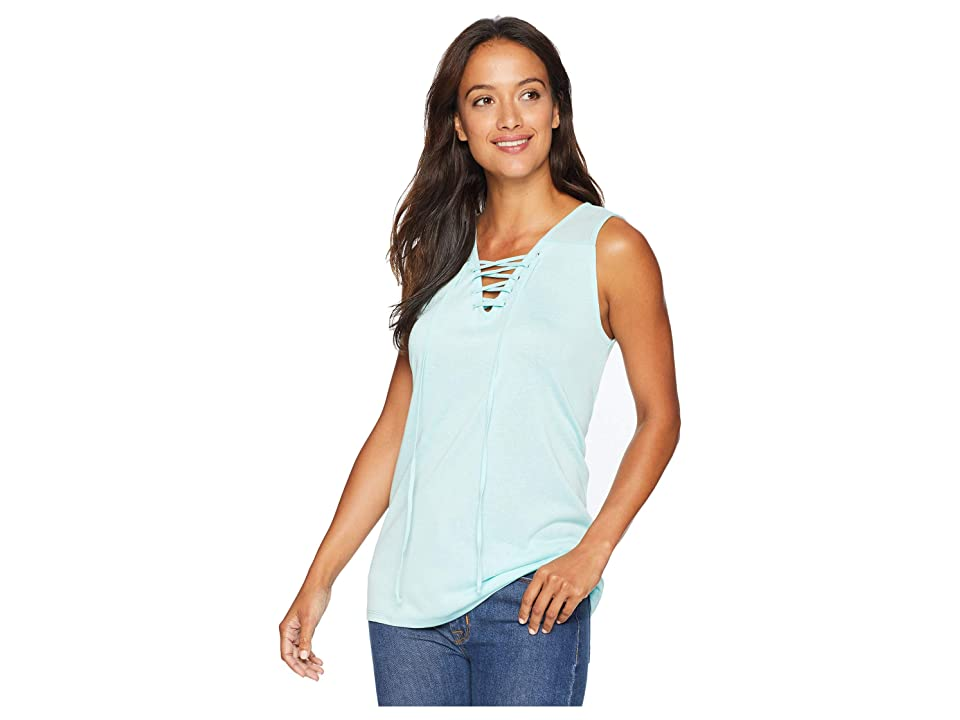 Tribal Slub Knit Lace-Up Tank Top (Mint) Women