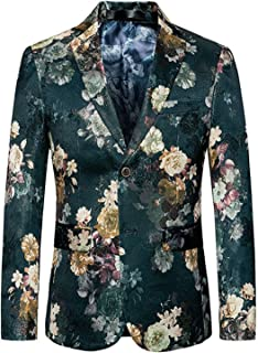 Mens Blazer Colorful Floral Printed Slim Fit Casual Suit Jacket (Fashion Style)